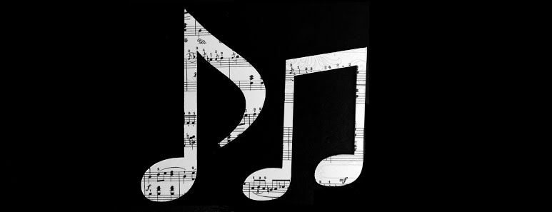 Negative space image of three music notes filled in with smaller music notes.