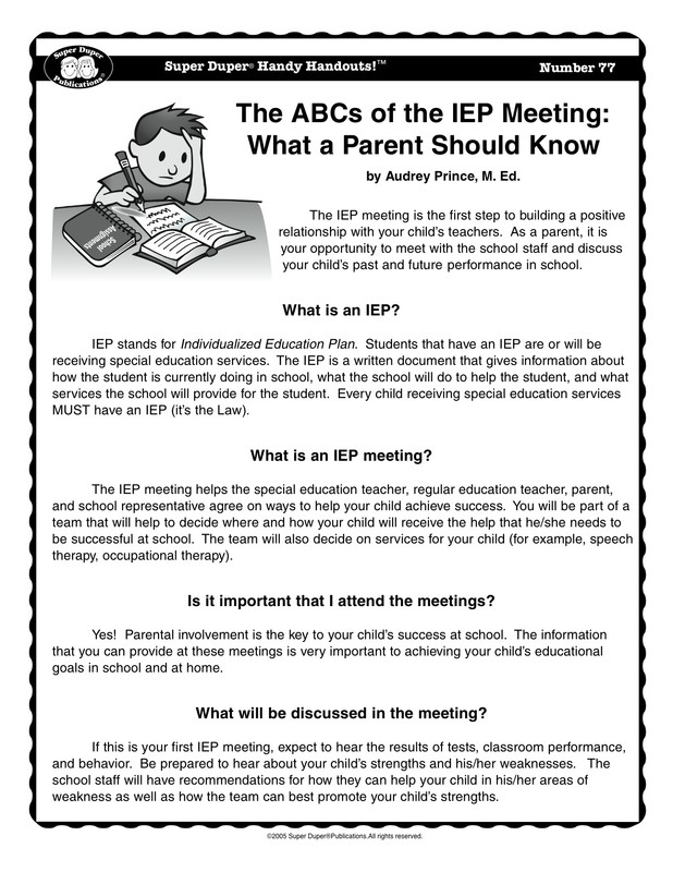 Iep Tips For Parents >> Miss Omlor S Site The Abcs Of The Iep Meeting What A Parent