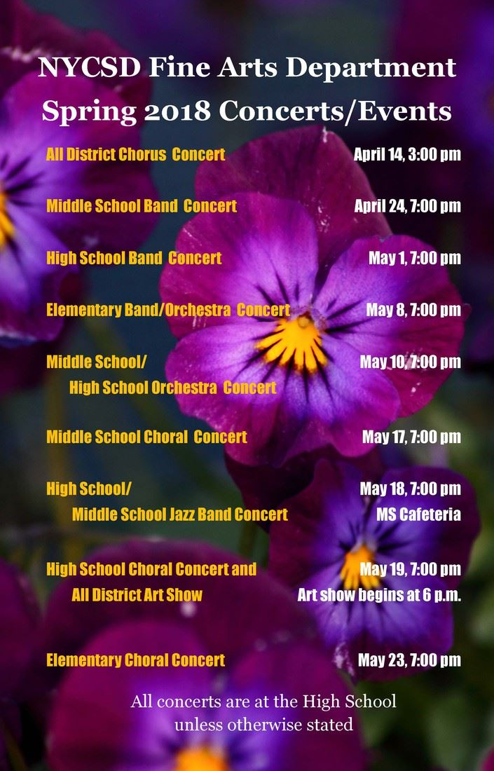 Fine Arts Department Spring Concerts and Events